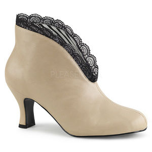 Slip-on High Heel Ankle Booties Boots Shoes Cream
